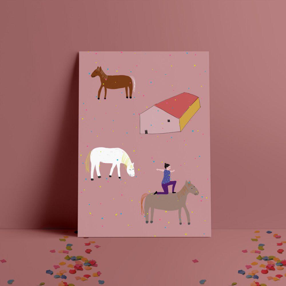 Kinderposter mit Pferden und voltigieren Pferdestall Konfetti